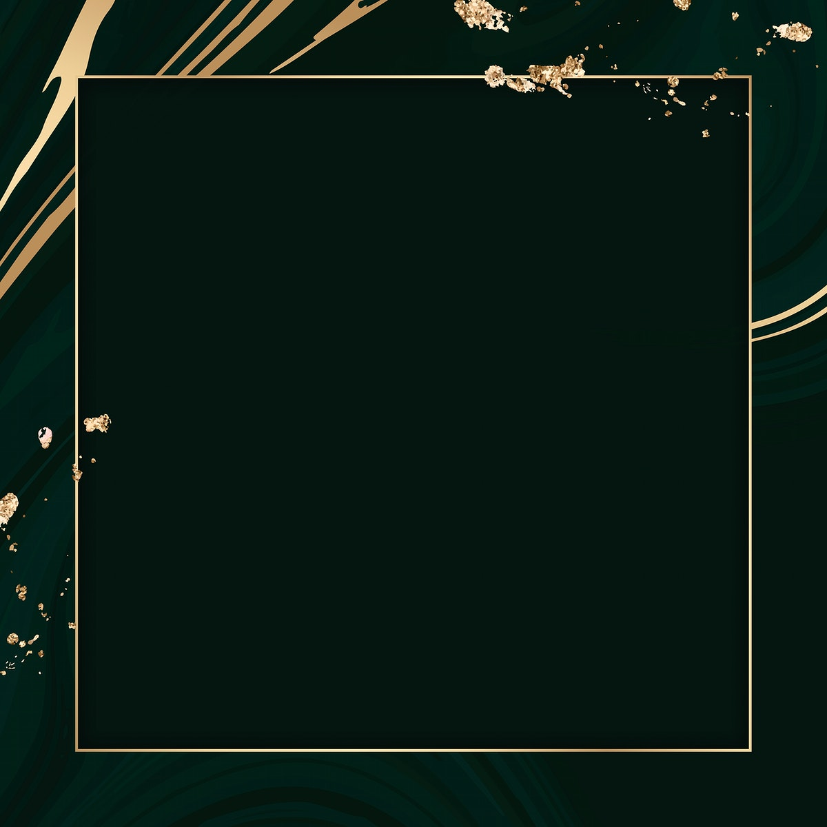 Square gold frame on a black fluid patterned background vector