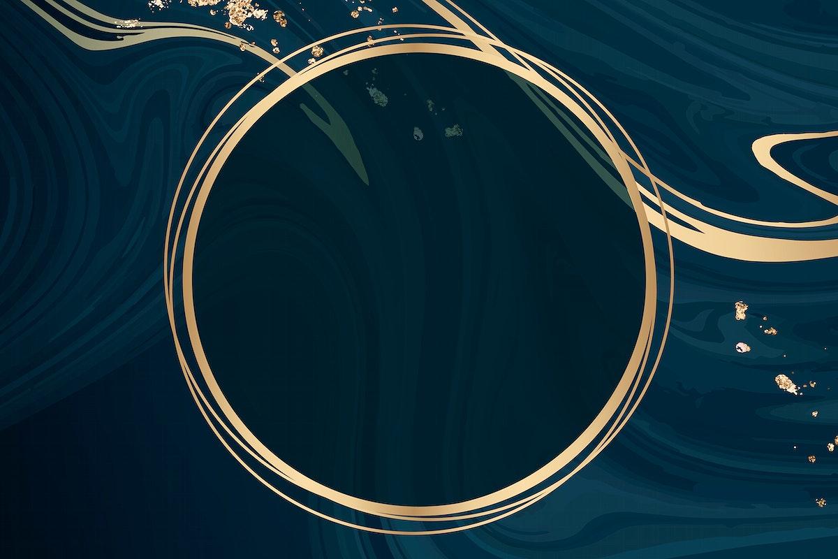 Round gold frame on blue fluid patterned background vector