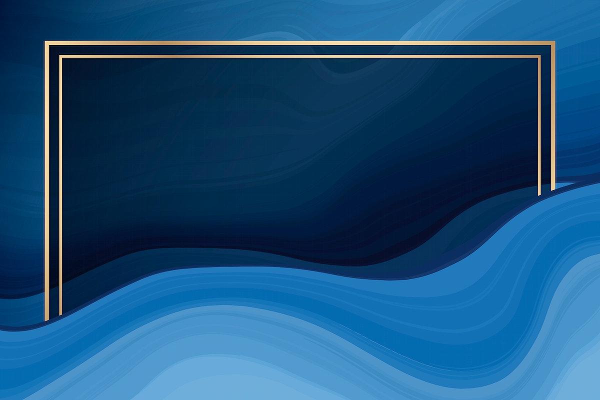 Pink gold frame on blue fluid patterned background vector