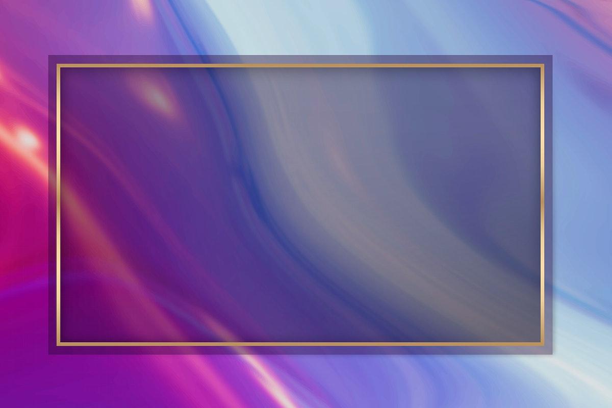 Pink gold frame on purple fluid patterned background vector