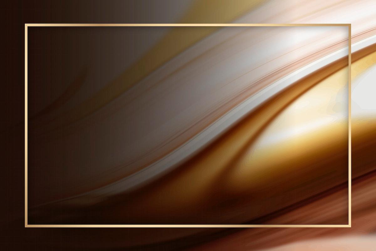 gold frame on brown fluid patterned background vector