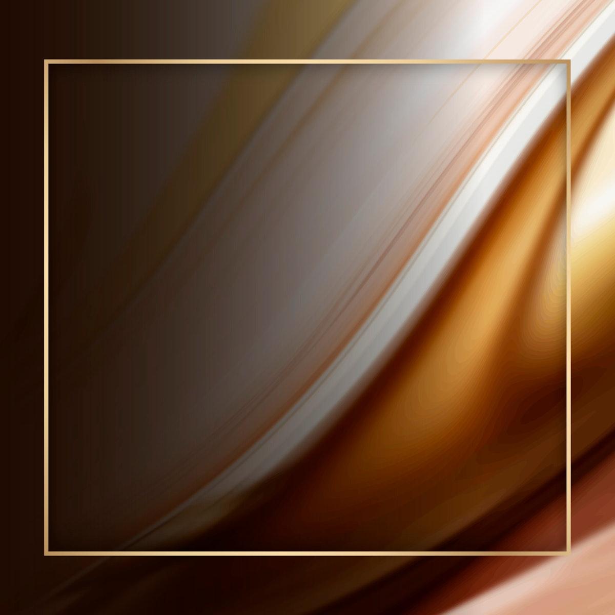 Square gold frame on brown fluid patterned background vector