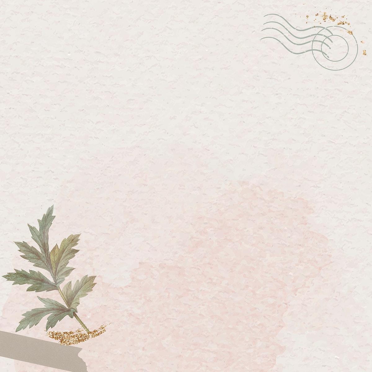 Leaf on beige background vector