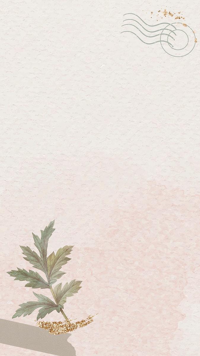 Beige mobile phone wallpaper vector