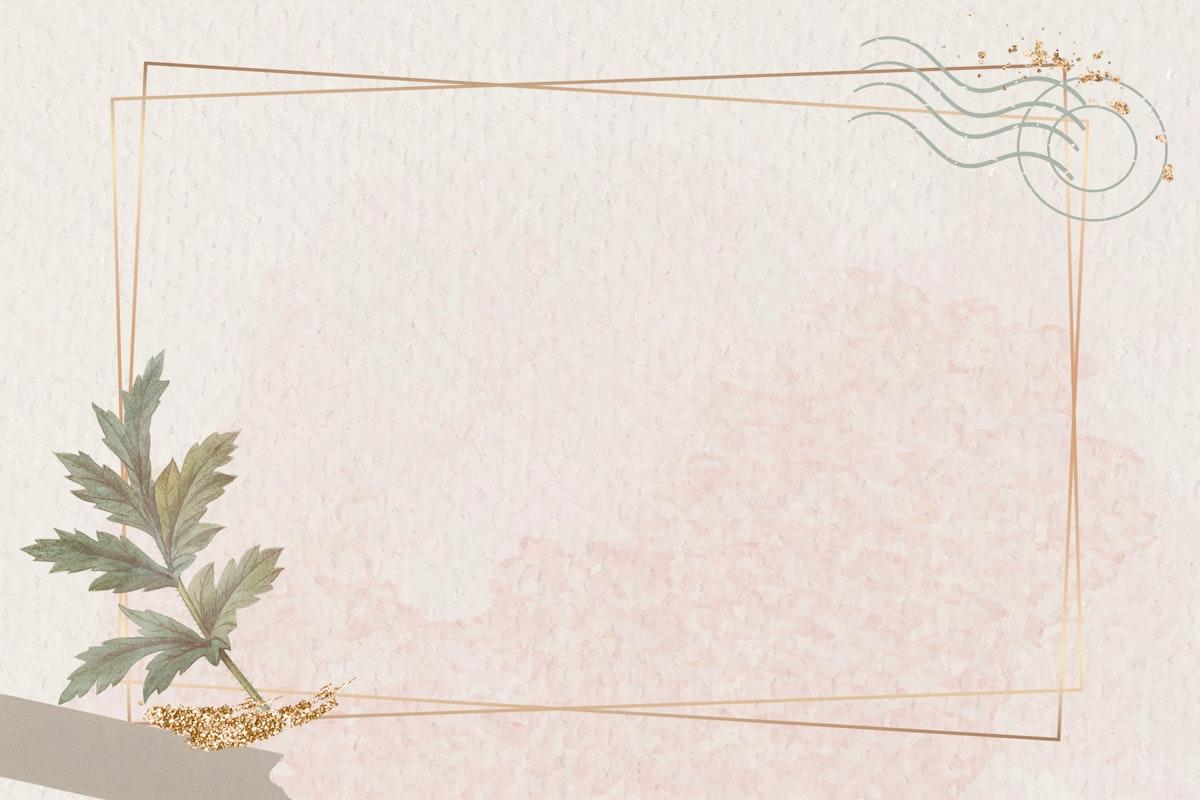 Gold frame with leaf on beige background vector