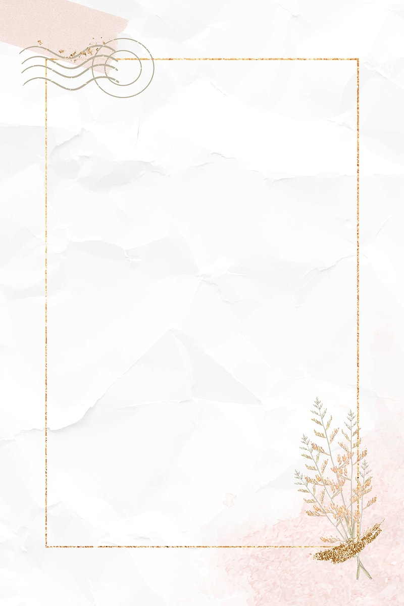 Gold frame on crumpled paper textured background vector