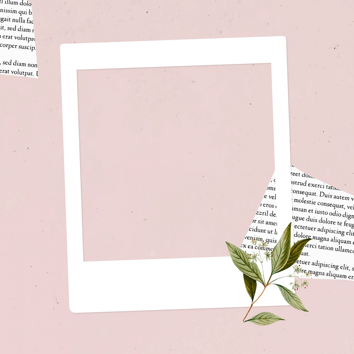 Blank collage photo frame template on pink backgrround vector
