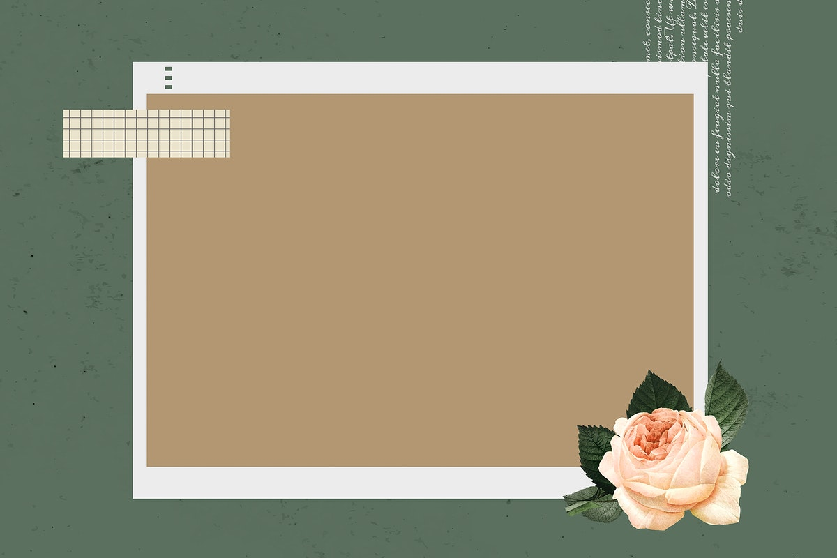Blank collage photo frame template on green background vector