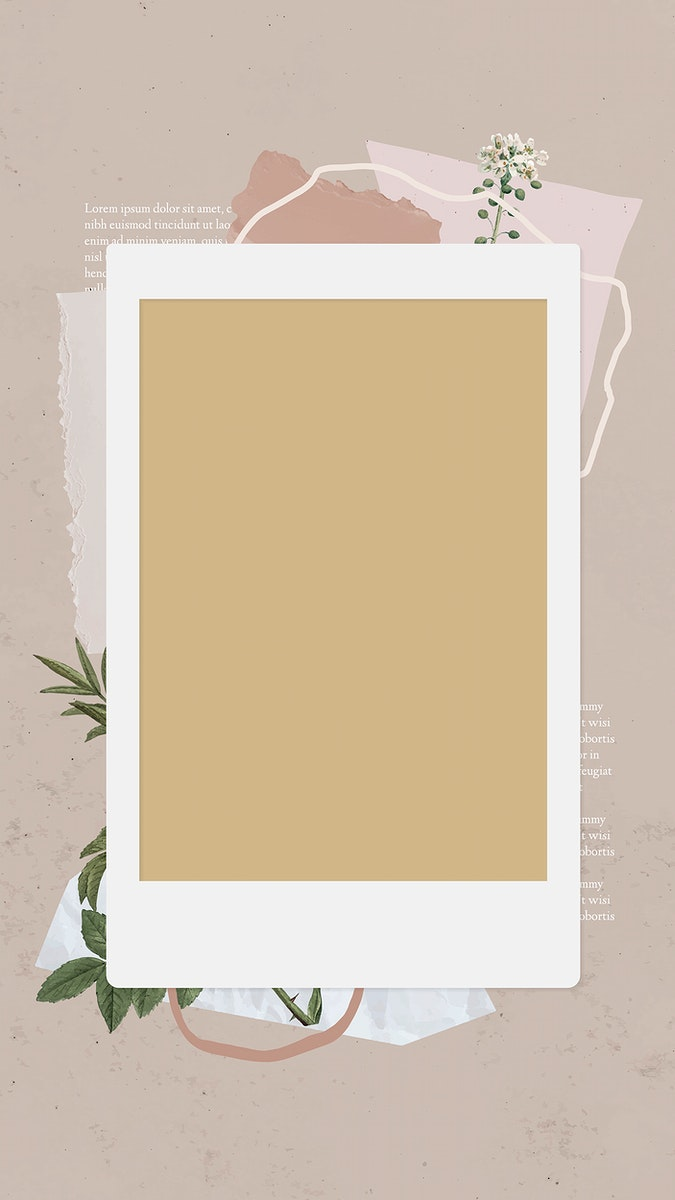 Blank collage photo frame template vector mobile phone wallpaper