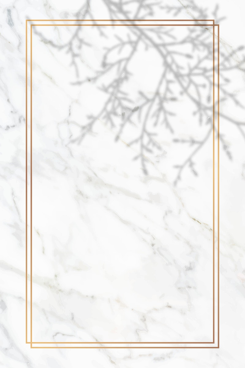 Rectangle gold frame with floral shadow on white marble background vector