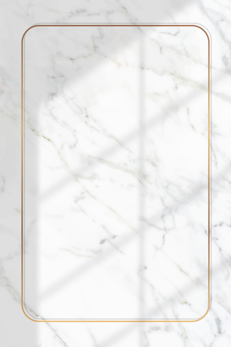 Rectangle gold frame with window shadow on white marble background vector