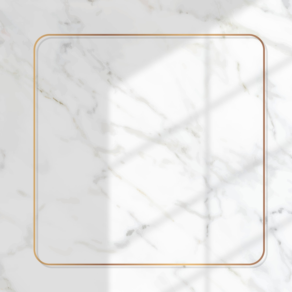 Square gold frame with window shadow on white marble background vector