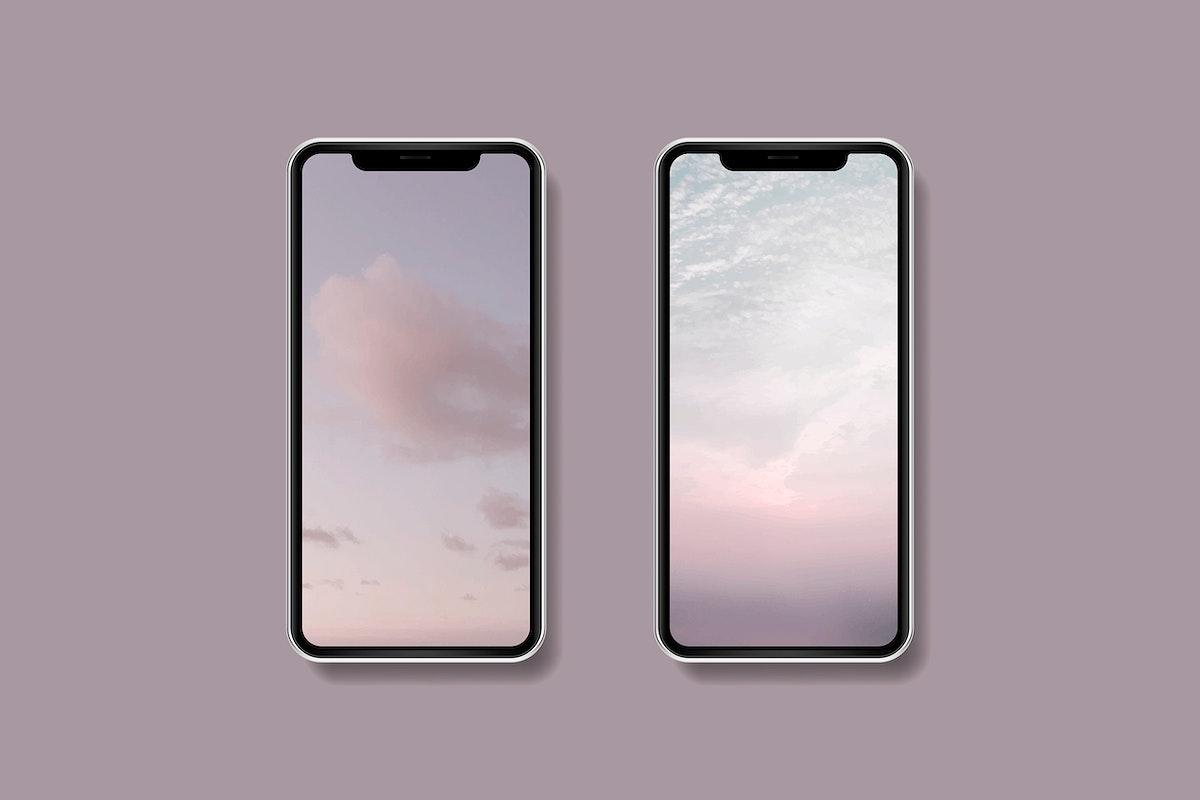 Pink sky mobile phone wallpaper mockup vector