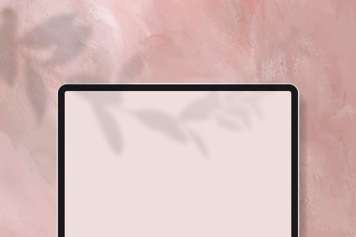 Digital tablet mockup on pastel pink background vector