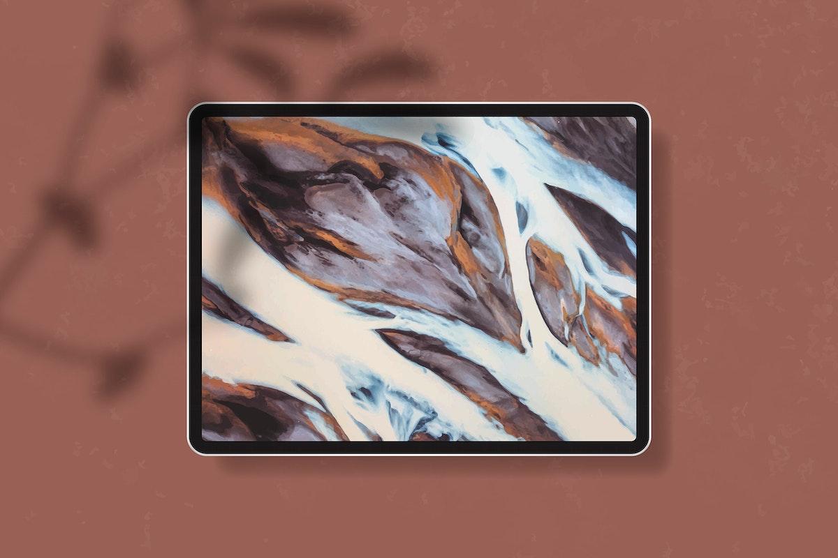 Digital tablet mockup on brown background vector