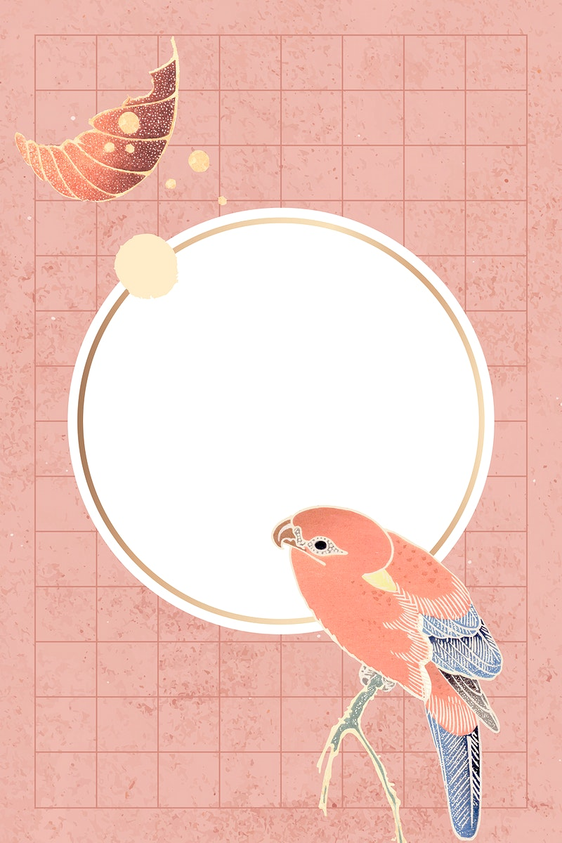 Gold frame with a parrot and leaf motifs on a peach background vector