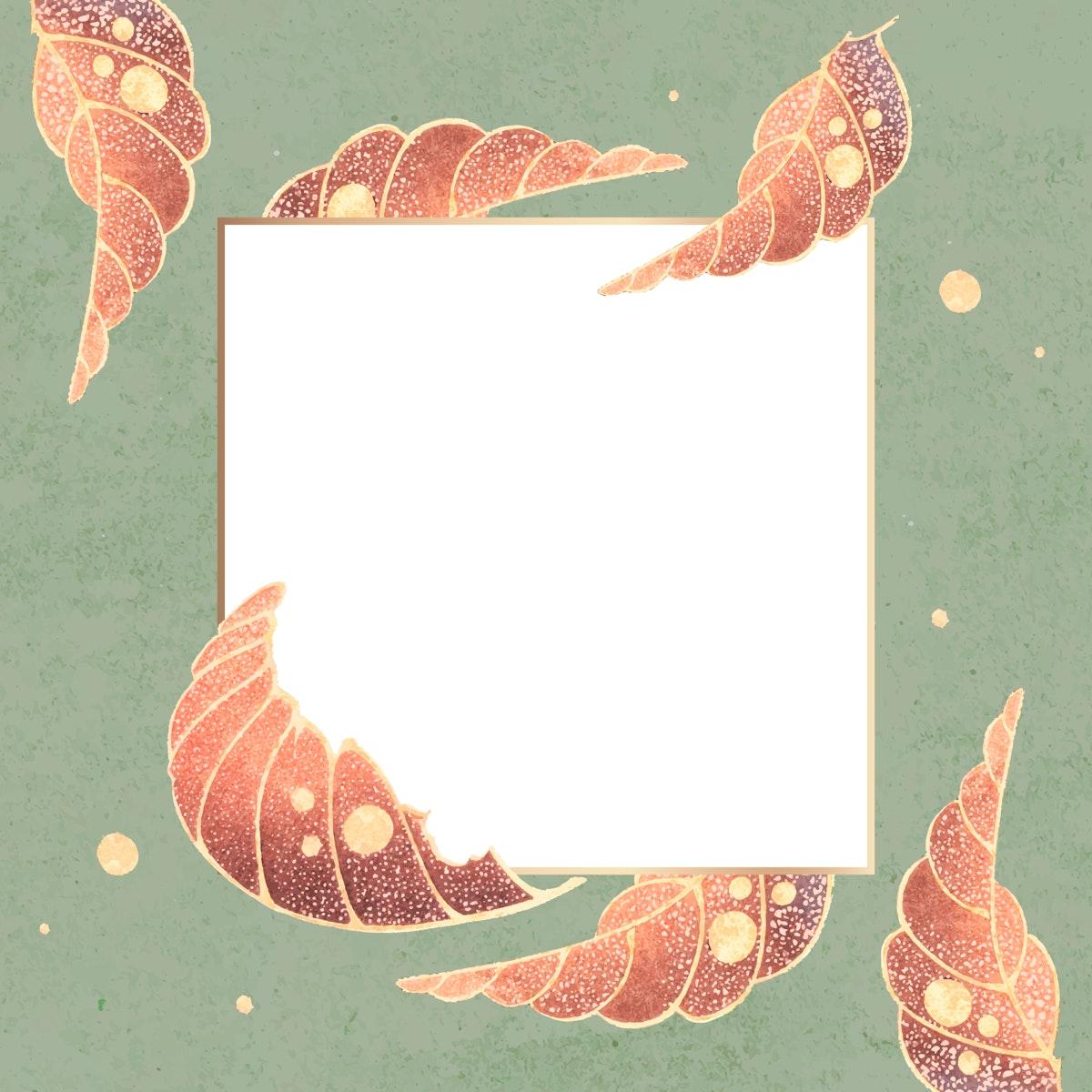 Gold square frame with vintage leaf motifs on an emerald background vector