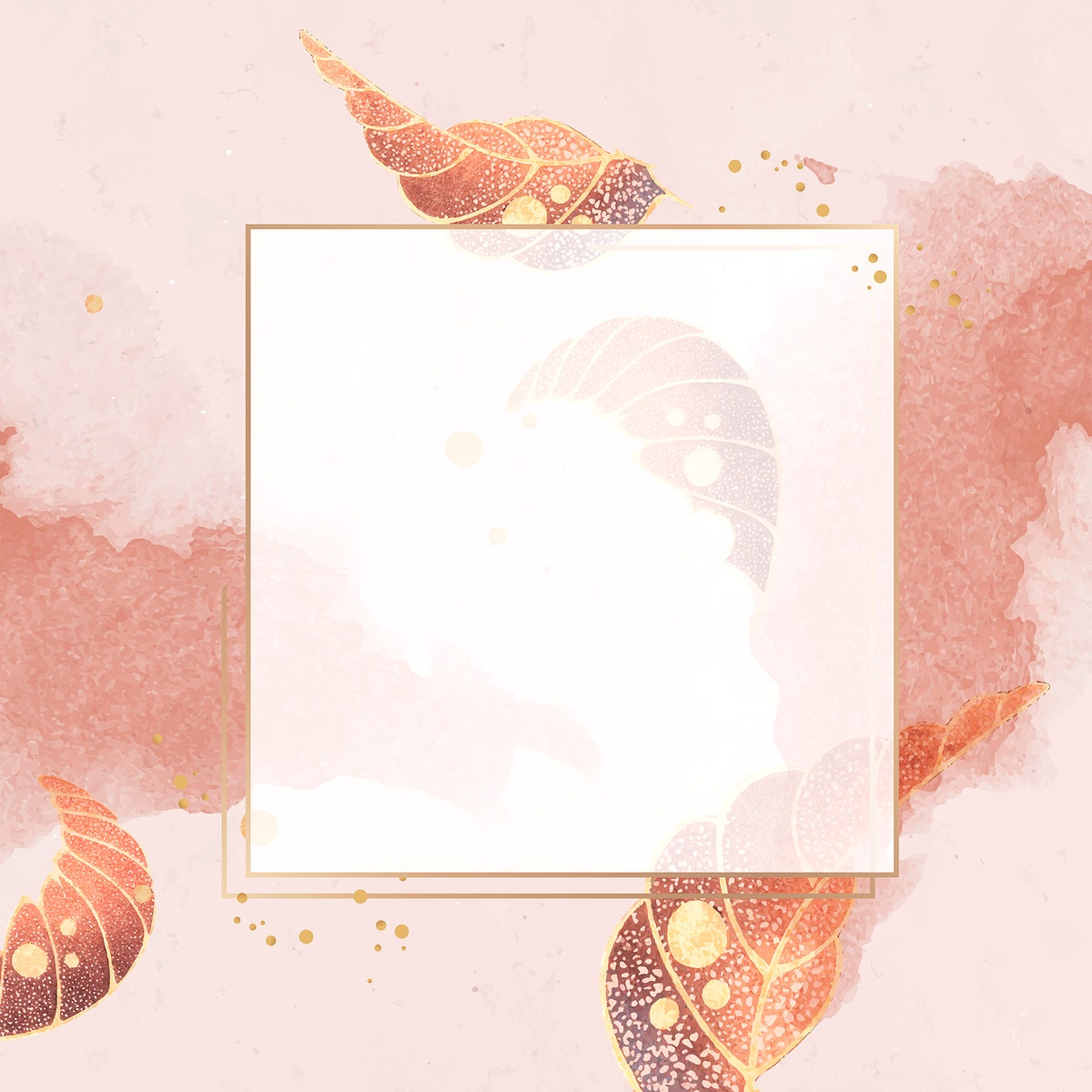 Gold square frame with vintage leaf motifs on a peach background vector