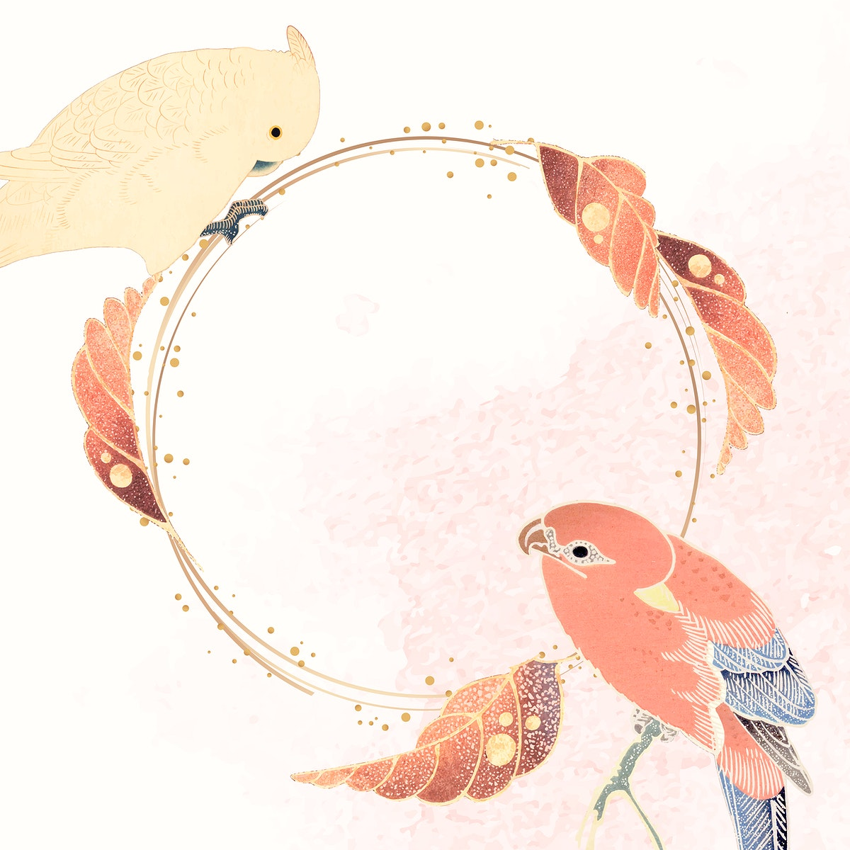Gold frame with a parrot, a macaw, and leaf motifs on a white and pink background vector