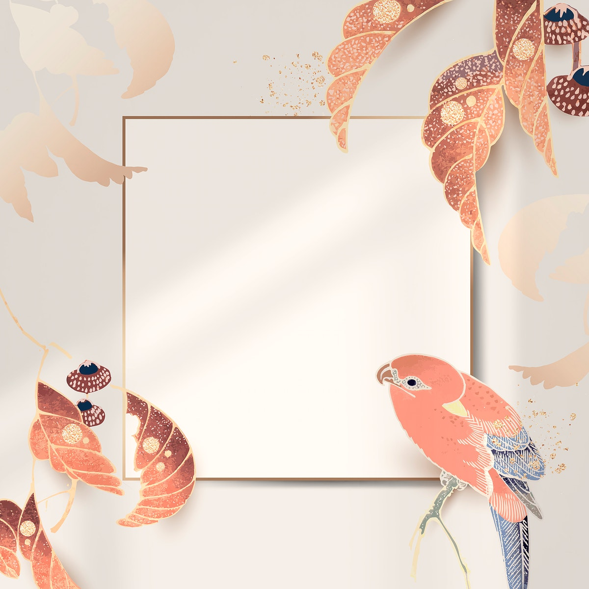 Gold frame with a parrot and leaf motifs on an invory background vector