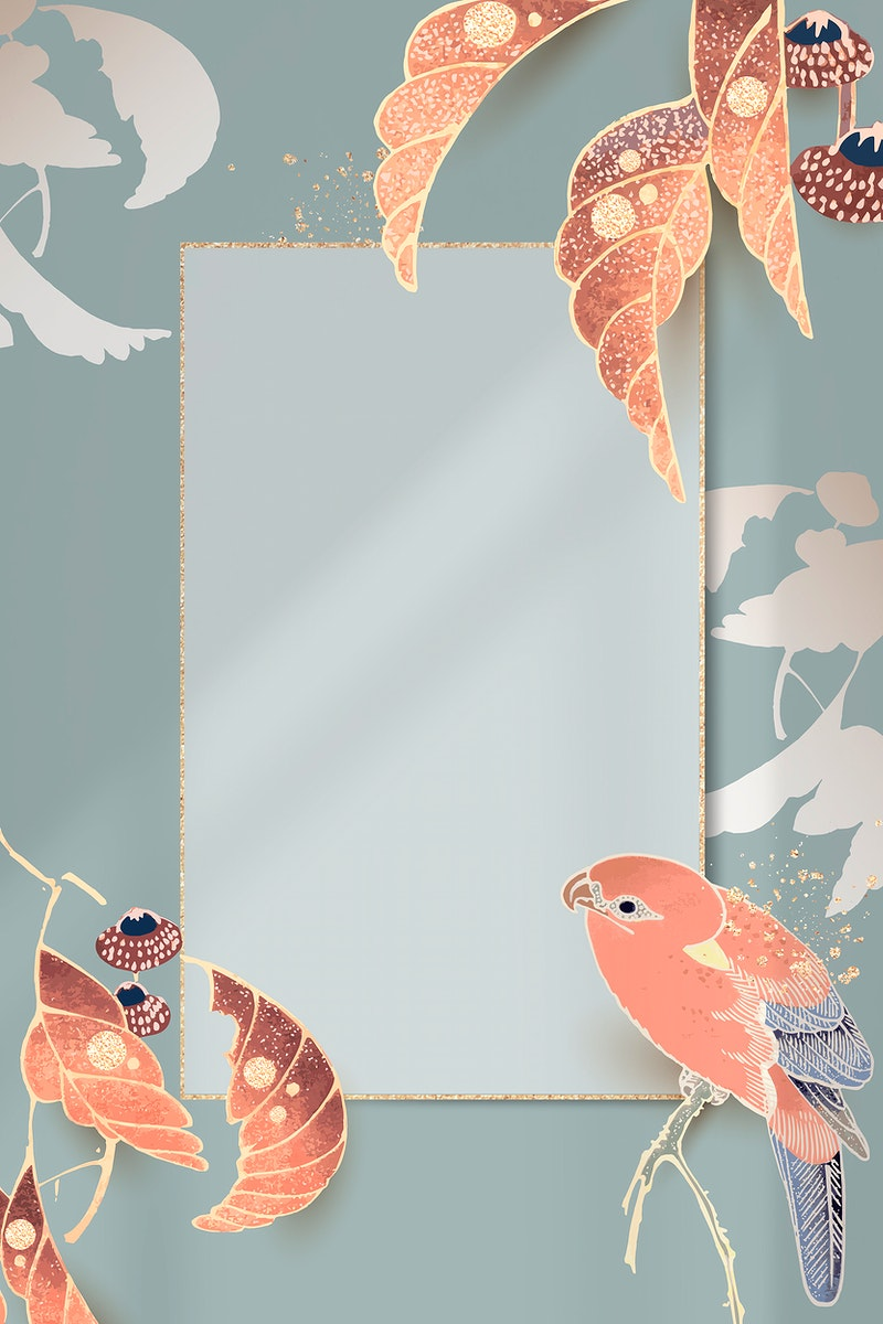 Gold frame with a parrot and leaf motifs on a teal background vector