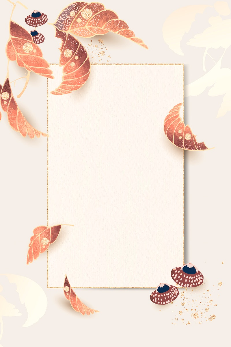 Rectangular gold frame with leaf motifs on an ivory background vector