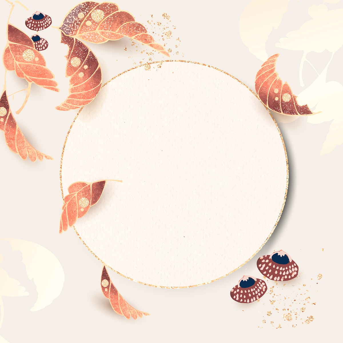 Round gold frame with leaf motifs on an ivory background vector
