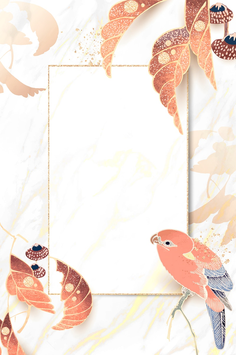 Gold frame with a parrot and leaf motifs on a white marble background vector