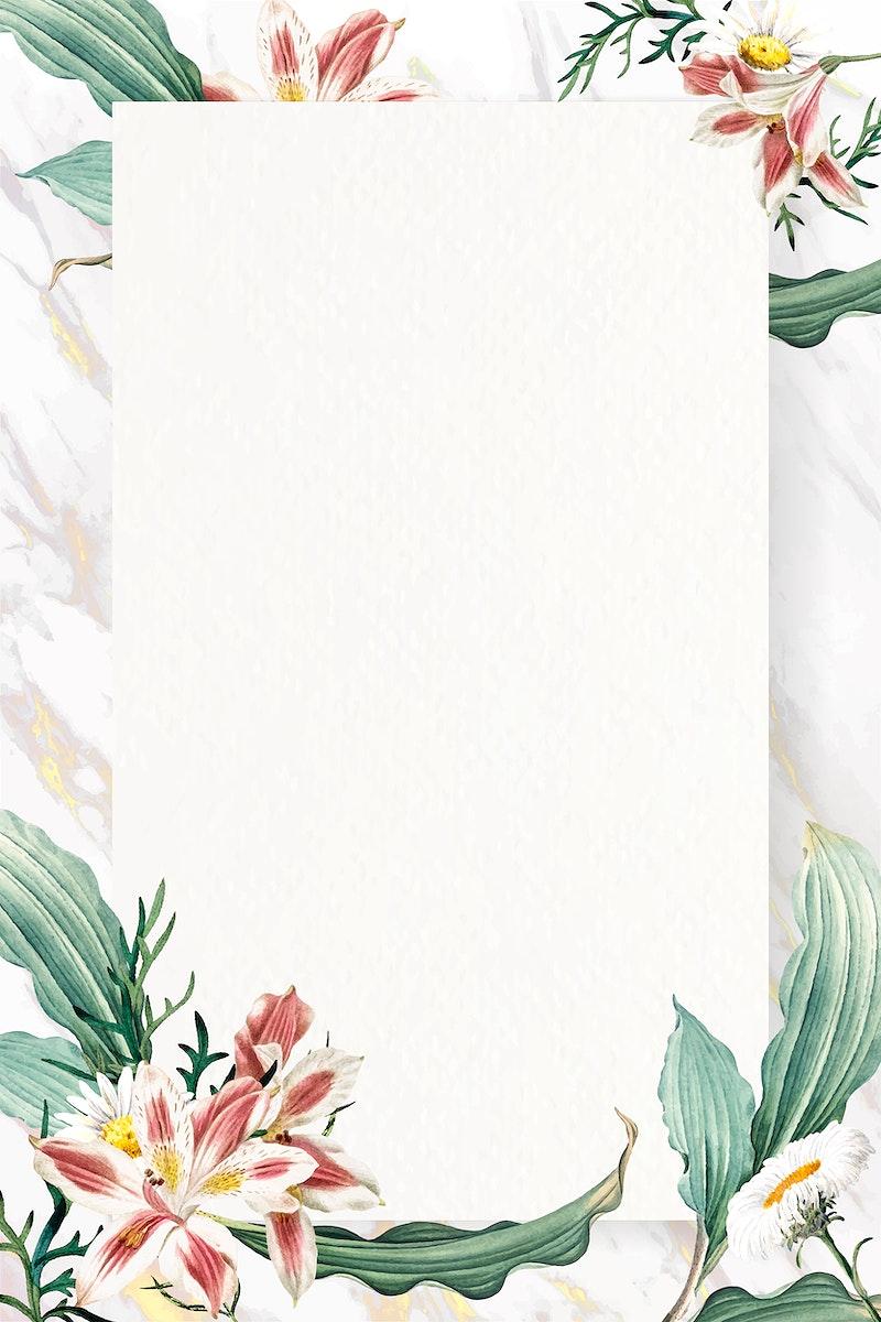 Blank floral rectangle frame vector