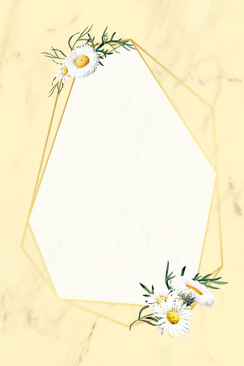 Blank floral heptagon frame vector