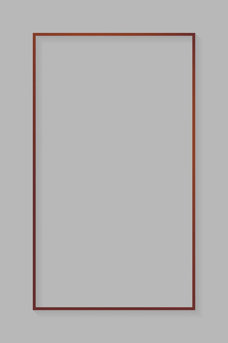 Rectangle bronze frame on light gray background vector