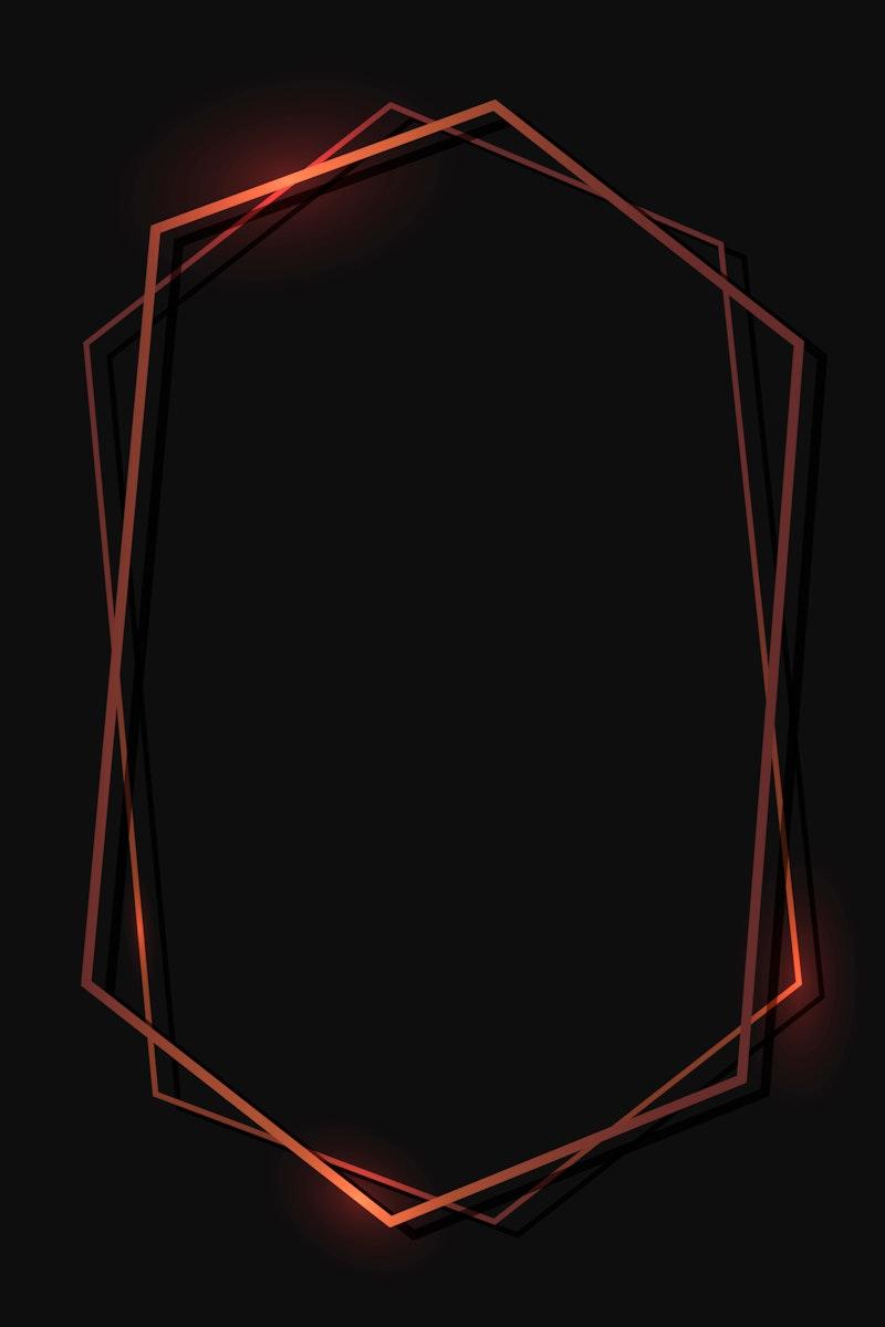 Bronze hexagon frame on black background template