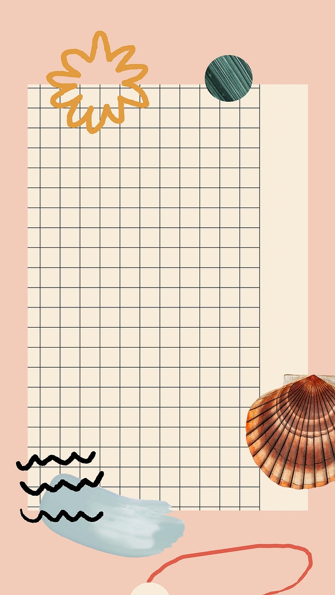 Clam shell pattern on grid mobile phone wallpaper vector