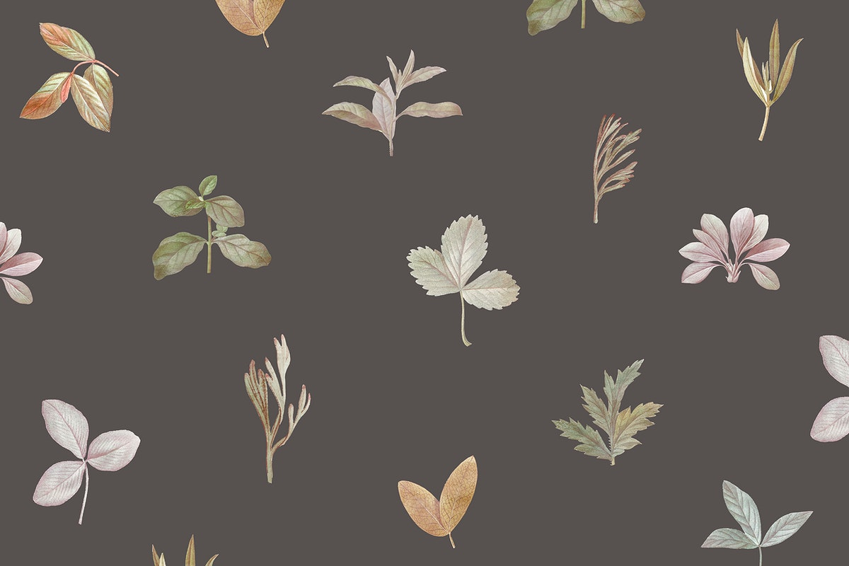 Foliage pattern on brown background vector