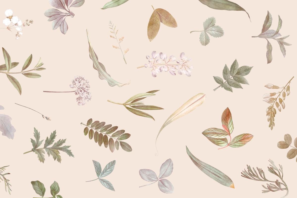 Foliage pattern on beige background vector