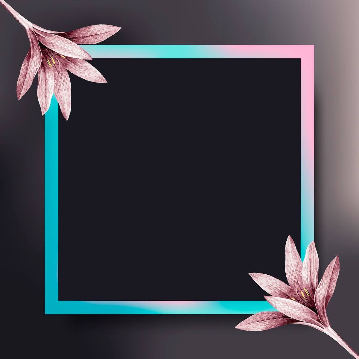 Square frame with pink amaryllis pattern vector