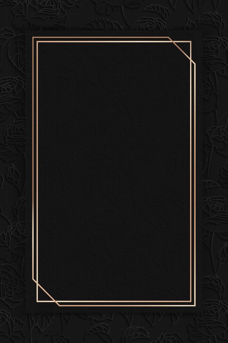 Rectangle gold frame on black floral pattern background vector