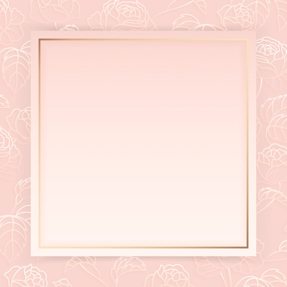 gold frame on floral pattern pink background vector