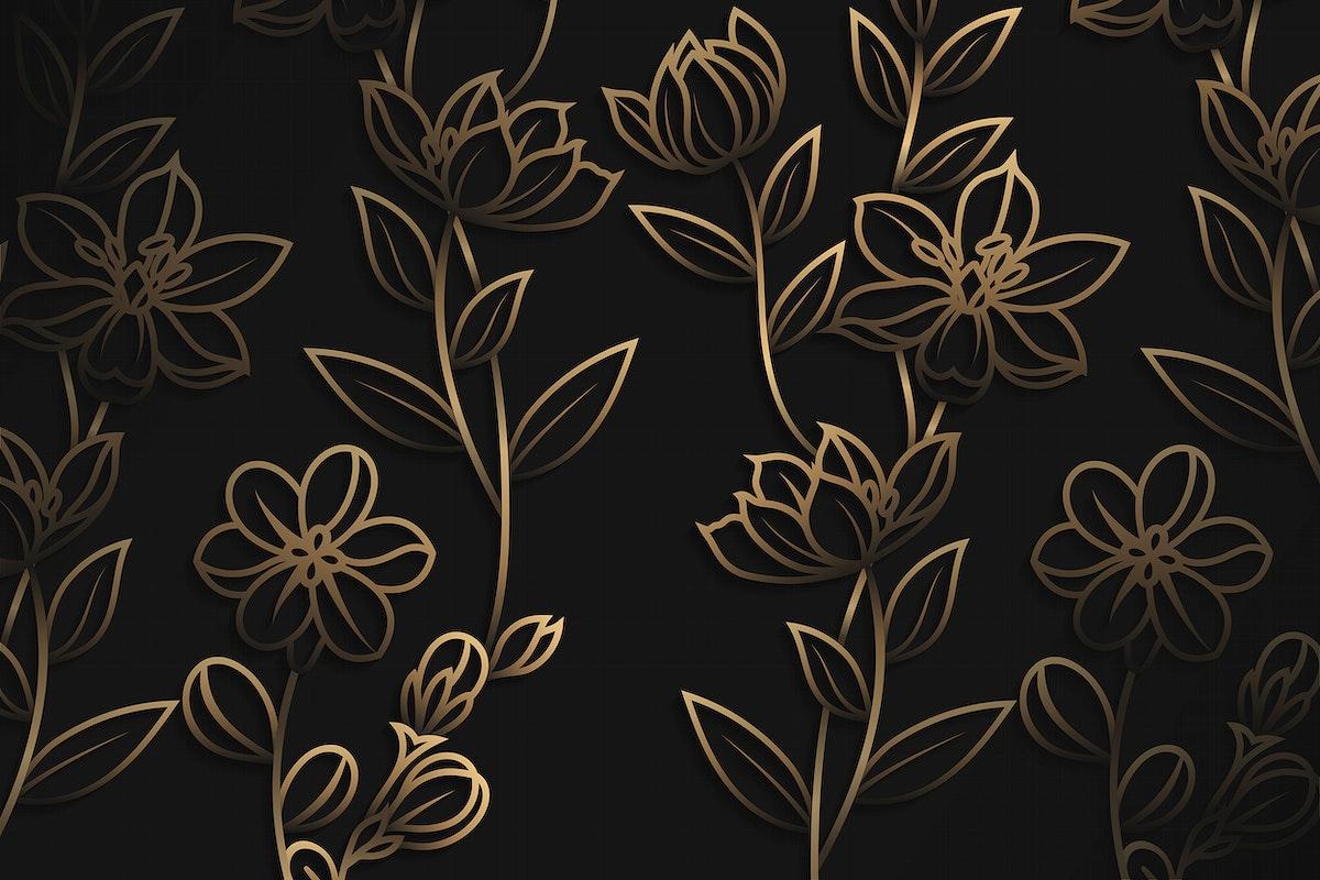 Gold floral pattern on black background vector
