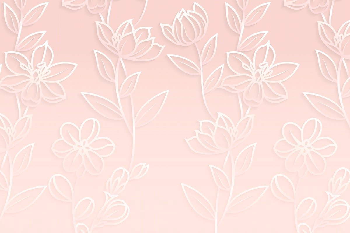 White floral pattern on pink background vector