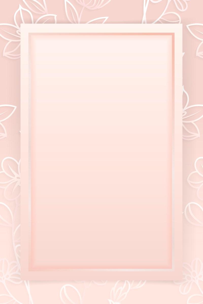 Rectangle frame on floral pattern pink background vector
