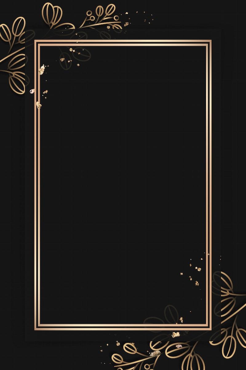 Rectangle gold frame on gold floral pattern on black background vector