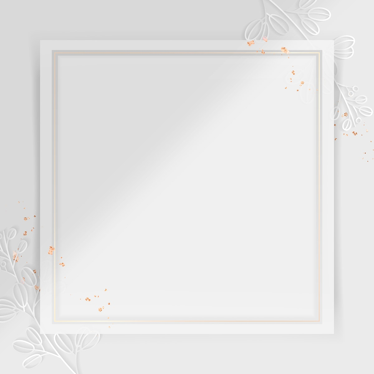 Square frame on silver floral pattern background vector