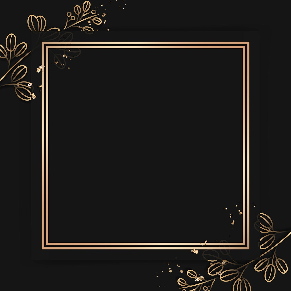 Square gold frame on floral pattern black background vector