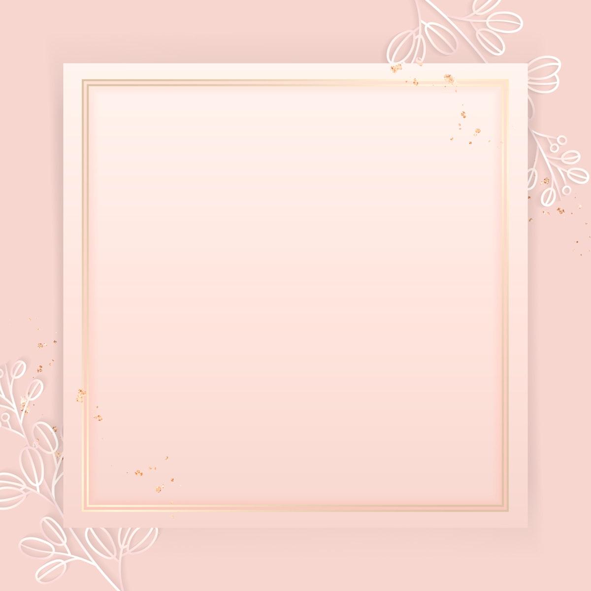 Square gold frame on floral pattern pink background vector