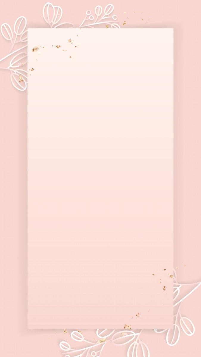Rectangle frame on floral pattern pink mobile phone wallpaper vector