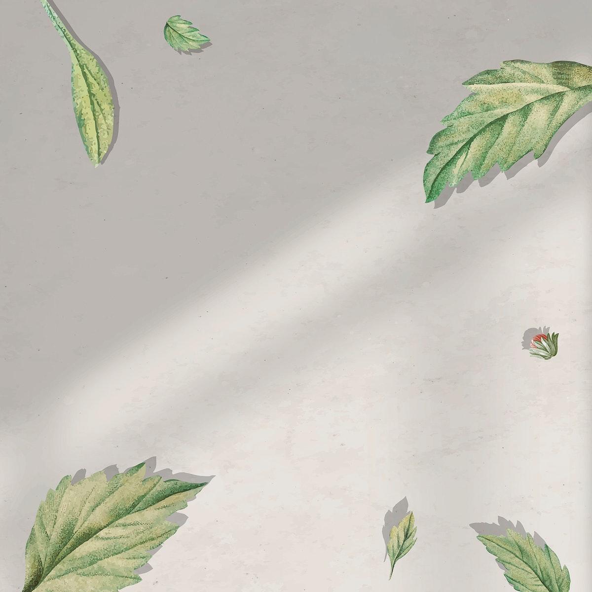 Foliage pattern frame on beige background vector