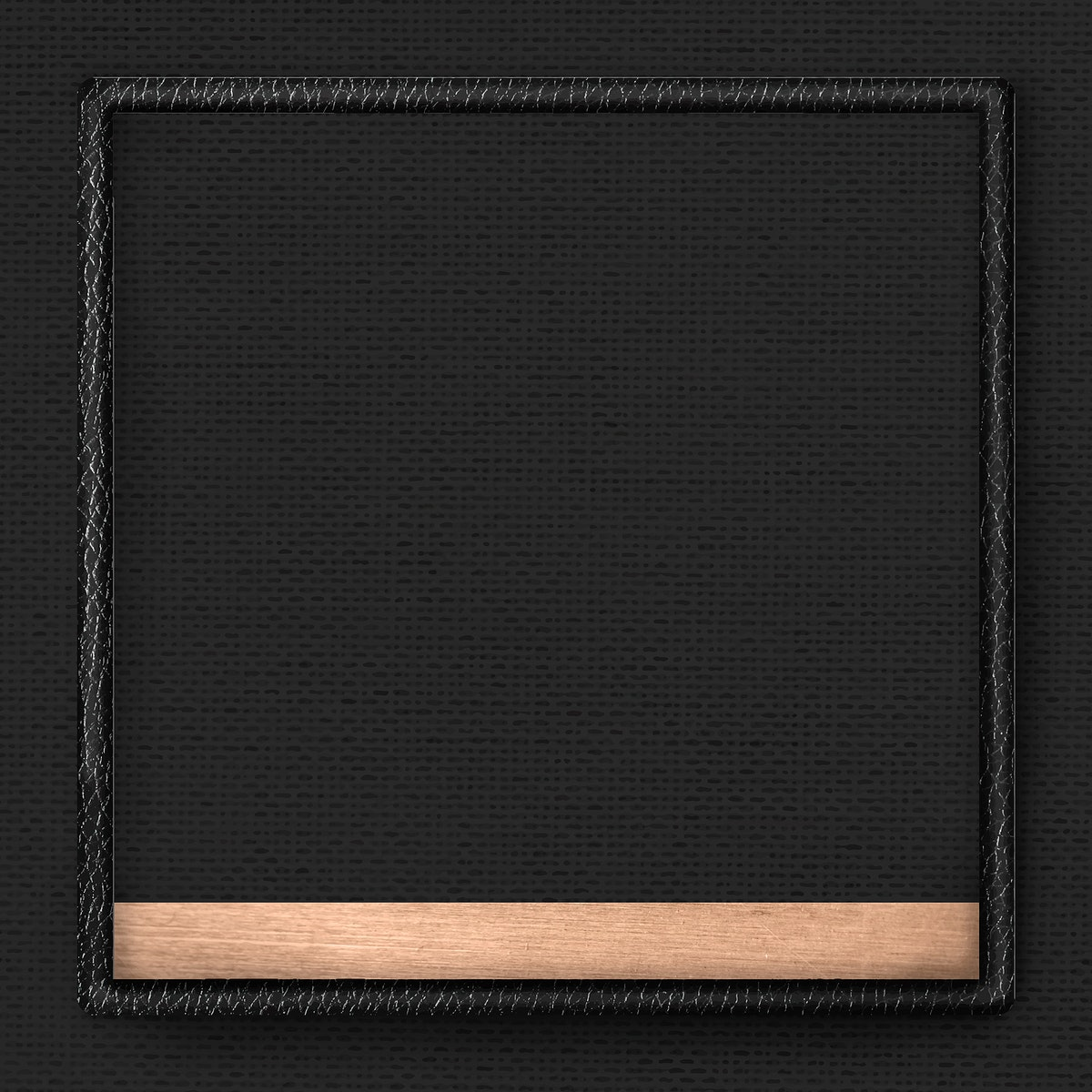 Black leather frame on black fabric texture background vector