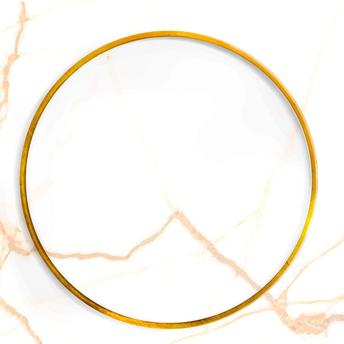 Round gold frame on white marble texture background vector