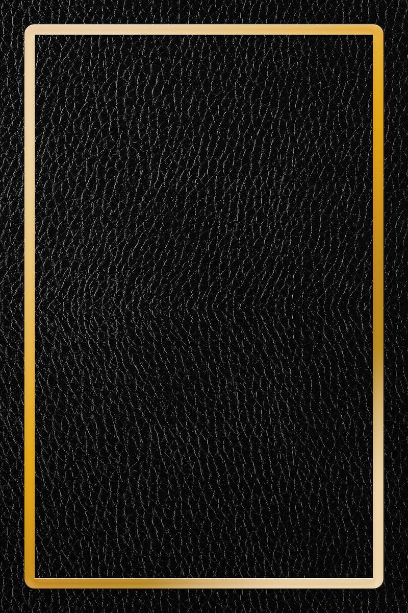 Gold frame on black leather background vector